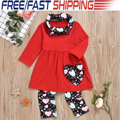 3pcs Toddler Kids Baby Girl Outfit Long Sleeve T-shirt Tops+Leggings Clothes Set