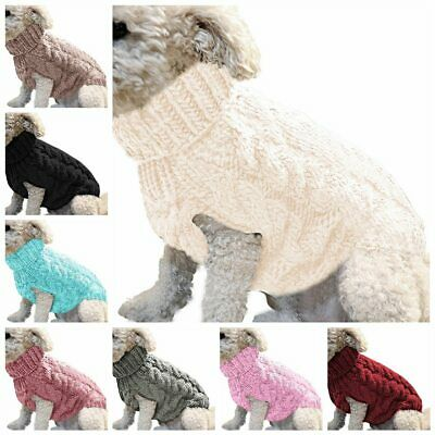 Pet Puppy Dog Jumper Winter Warm Knitted Sweater Clothes Small Dogs Coat UK