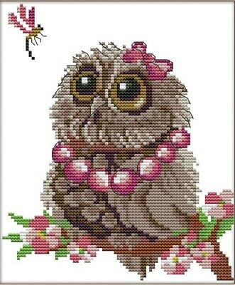 Owls and Dragonfly 14CT Counted Cross Stitch Kit. Craft Brand New.