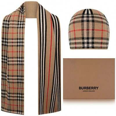Burberry Iconic Check Stripe Wool Hat & Scarf Set Archive Beige BNIB