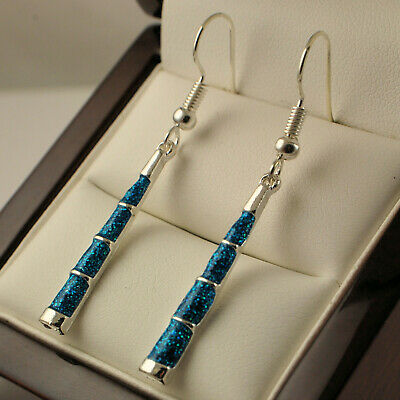 925 Sterling Silver Plated Syn Blue Fire Opal Dangle Drop Earrings UK New -28
