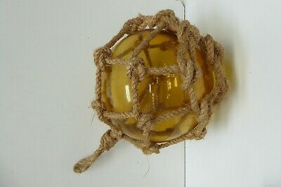 Vintage Hand Blown Amber Glass Buoy Shipping Boat Float Ball Rope Netting