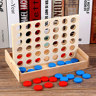 Kids Wooden 4 In A Row Classic Family Chess Toy, Line Up 4 Travel Board Games .