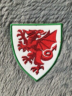 UK Wales Red Dragon Flag Euro Cup Football Shirt Embroidered Iron On Patch Badge