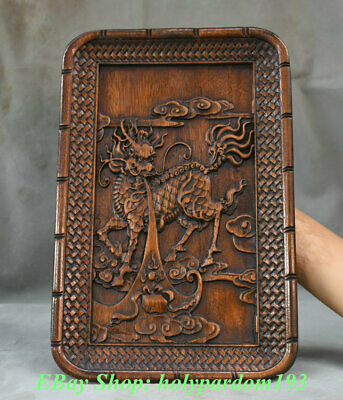 "14"" Rare Old China Dynasty Huanghuali Wood Carved Dragon Kiln Beast Plate Tray"