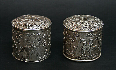 Pair Antique Chinese Export Silver Boxes