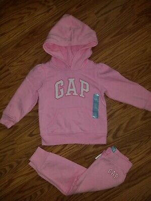 Baby Gap Girl Size 2 Years Pull Over Hoodie And Joggers Outfit NWT Pink