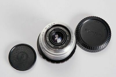 Industar-50 50/3.5 lens with Fuji adapter, and caps. Serviced, CLA'd