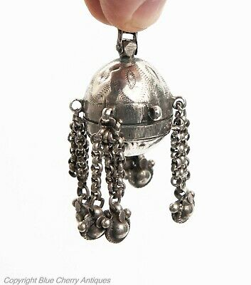 Antique Chinese Silver Hanging Chatelaine Small Opium Container c1860