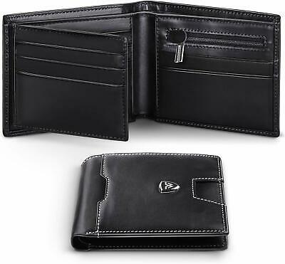 Wallets Mens RFID Blocking Genuine Leather With Zipped Coin Pocket, 12 Credit