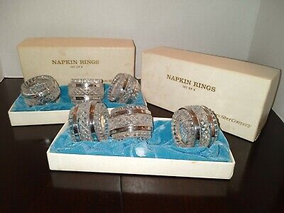 6 VTG  FB ROGERS Silver Company Crystal/Silver Plate Napkin Rings Holders IN BOX