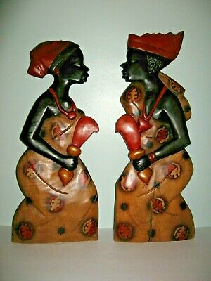 Hand carved wooden Wall Hanging Plaques African Tribal Man & Woman Figurines
