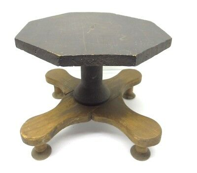 Antique Old Primitive Wood Wooden Painted Black Top Spool Foot Footstool Stool