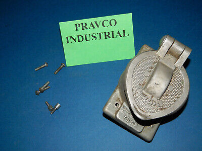 Hubbell Aluminum Receptacle Wall Plate with Twist-Lock Receptacle 50A/250VDC