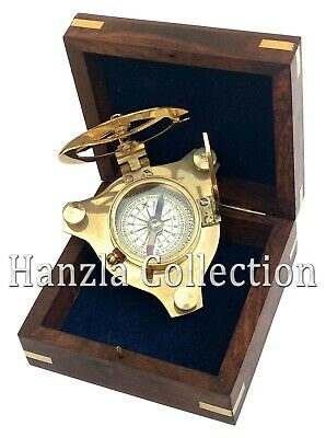 """Nautical Maritime 3"""" West London Polished Brass Sundial Compass With Wooden Box"""