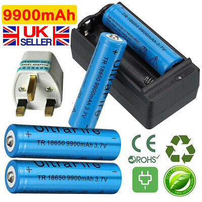 4pcs 18650 3.7V 9900mAh Li-ion Lithium Rechargeable Battery + 18650 Charger UK