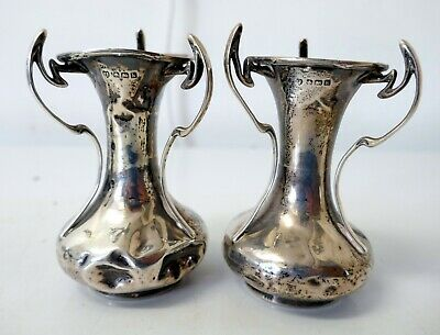 Pair of Small Antique Sterling Silver Hallmarked Art Nouveau Vases 1910
