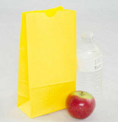 **Closeout Price** 500 Small Bright Yellow Paper Lunch Bags - 4# SOS
