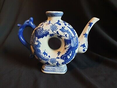 """Unusual Vintage Chinese Blue & White Porcelain Donut Teapot with Dragons,8"""", VGC"""