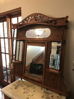 Wooden Antique Fireplace Over-Mantle Mirror
