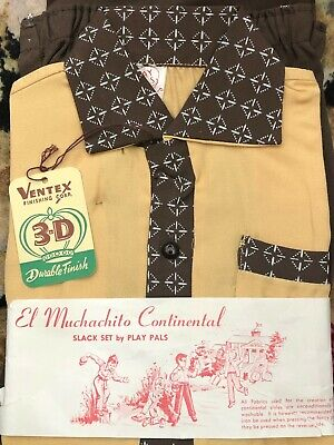 1950s Vintage TWO-PIECE Boy's Rayon GABARDINE Outfit Slack Set by PLAY PALS Sz 6