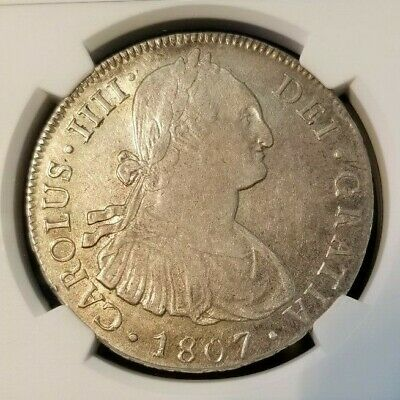 1807 Pts Pj Bolivia Silver 8 Reales Ngc Au 58 Scarce Non Problem Coin