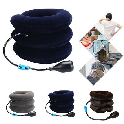 Air Inflatable Neck Pillow Cervical Head Traction Pain Relief Therapy Device New