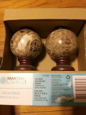 Martha Stewart Living 1-3/8 in. Wood/Finial in Antique Mahogany
