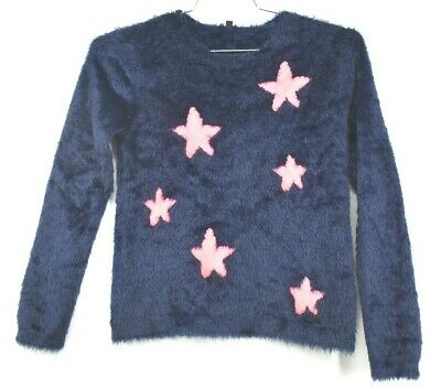 Imoga Girls Size 12 Navy Blue Pink Star Fuzzy Fur Thick Heavy Pullover Sweater