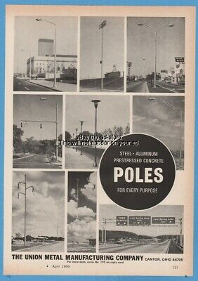 1969 Union Metal Mfg Canton OH Steel Aluminum Concrete Pole Street Light Sign Ad