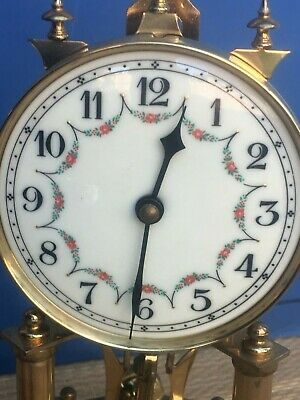 JAHRESUHRENFARBIK Vintage  German Table Clock--Porcelain Dial--