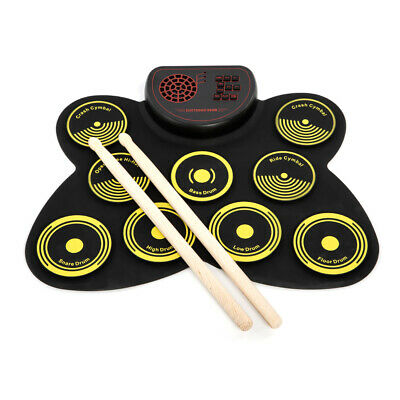 Portable Electronic Drum Set USB Roll Up Drum Pad Kit 9 Drumpads Built-in O8G5