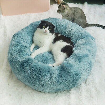 Cat Dog Warm Plush Bed Round Calming Sleeping Pet Cuddler Donut Fur Soft S-L Bed
