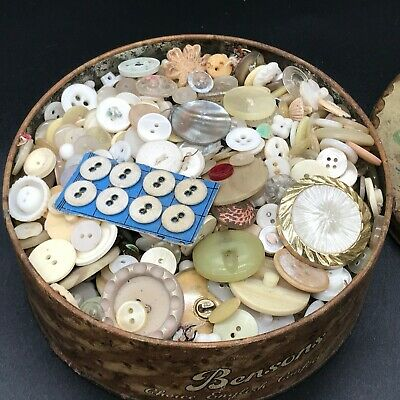 Antique Vintage  Bensons Tin Full Of Old Buttons Sewing