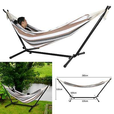 Outdoor Garden Hammock Bed With Heavy Duty Stand Frame Swinging Camping Travel
