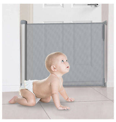 Callowesse Deluxe Retractable Stair Gate 0-110cm Suitable for Baby & Pets - Grey