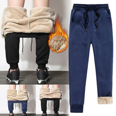 Winter Mens Athletic Pants Fleece Lined Thick Trousers Casual Loose Warm Joggers