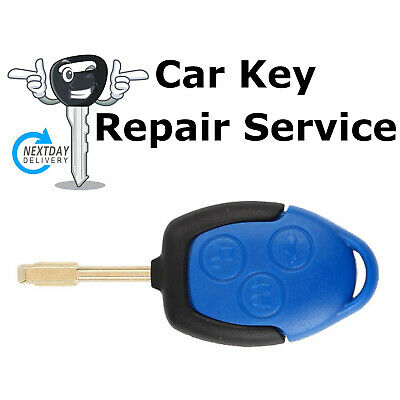 Ford Transit MK7 Van 3 Button BLUE Remote Key Fob Case Repair Service + Battery
