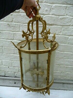Vintage Large Gilt Brass+Etched Glass 4 Light Hallway/Porch Lantern Sconce 28.5