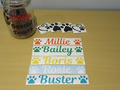 Personalised Pet Name Vinyl Stickers For Dog/Cat Food Bowls Treat Box etc