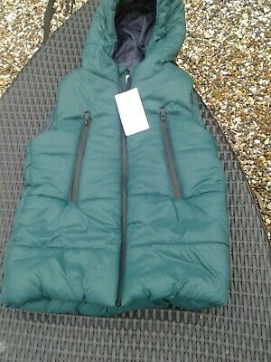 M&S Marks & Spencer Boys Green hooded Bodywarmer Gilet 9/10 Years