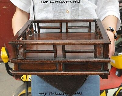 """12"""" Old Chinese Huanghuali Wood pure Hand-Carved Drawers Kung Fu Tea Tea table"""