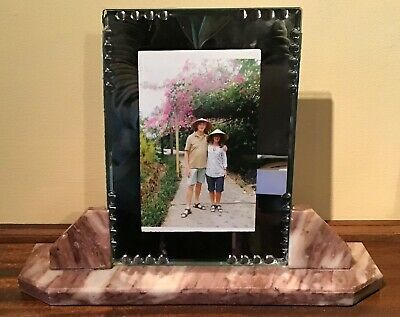 Large Antique French Art Deco Marble Photo Frame