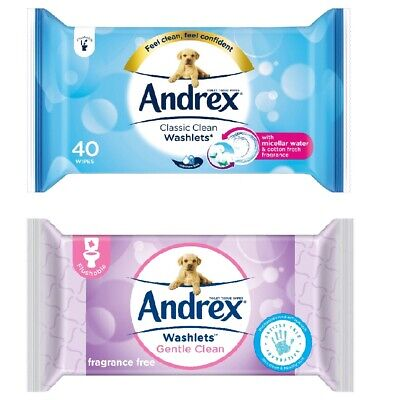 Andrex Washlets Flushable Toilet Wipes Classic / Gentle Clean Pack of 40 Wipes