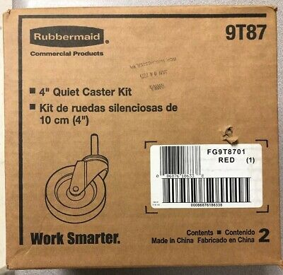 """Rubbermaid Red 4"""" Quiet Caster Kit 9T87"""