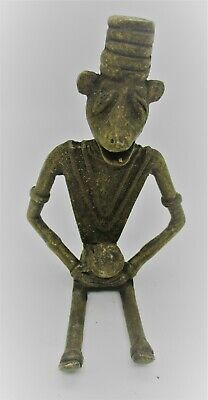 Very Interesting Old Antique Near Eastern Bronze Humanoid Statuette