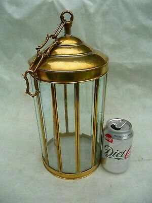 Vintage Brass+Beveled Glass Porch/Hall Lantern Sconce Pendent Architectural