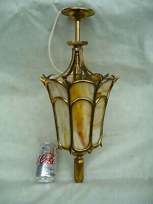 Vintage Large Brass Porch/Hall Lantern+Decorative High Luster Panel Good Quality