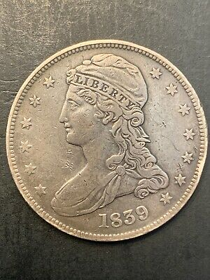 """1839 Capped Bust Half Dollar Type 3, Reeded Edge, """"HALF DOL."""" on Reverse⚜️CW1-20"""