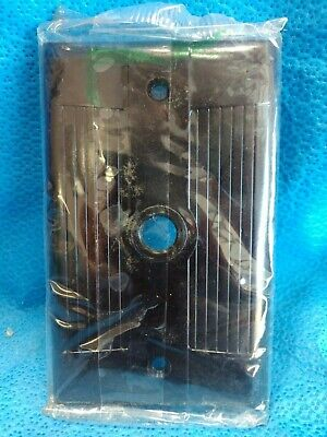 Eagle Push Button Switch Plate BROWN BAKELITE Ribbed Tuxedo NOS Single
